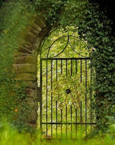 درب آهنی در باغ